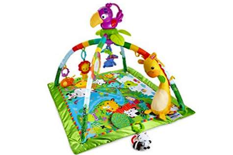 Fisher-Price Deluxe jungle dyr gymnastiksal, baby legetæppe (Mattel DFP08)
