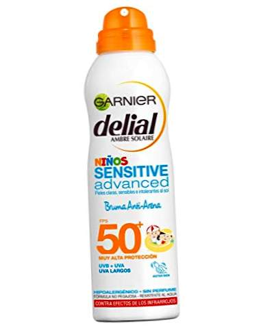 Garnier Delial Children Sensitive Advanced Spray Anti-Sand Crema solare per pelli chiare, sensibili, alta protezione IP50 + - 200 ml