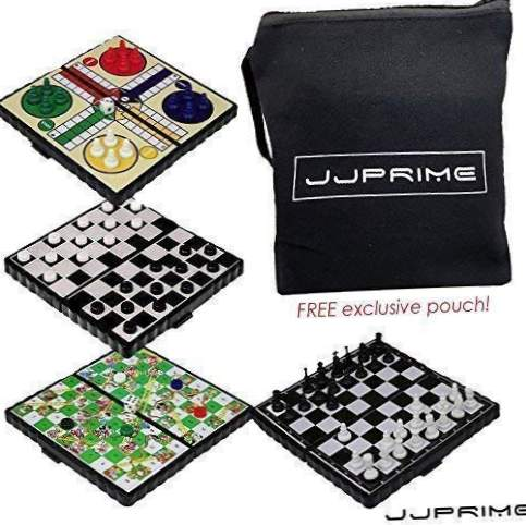 JJPRIME 4 i 1 Skak / Ludo / Snake and Ladder / Checkers / Magnetic Travel Board Game