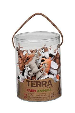 Battat Terra av an6001z Farm Animal Toys in a Tube (60 Pieces).